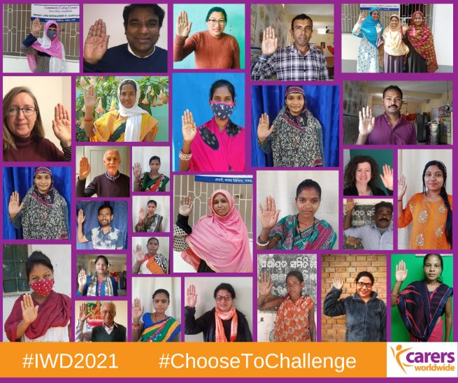 Staff, trustees and carers with their hands raised to show they #ChooseToChallenge