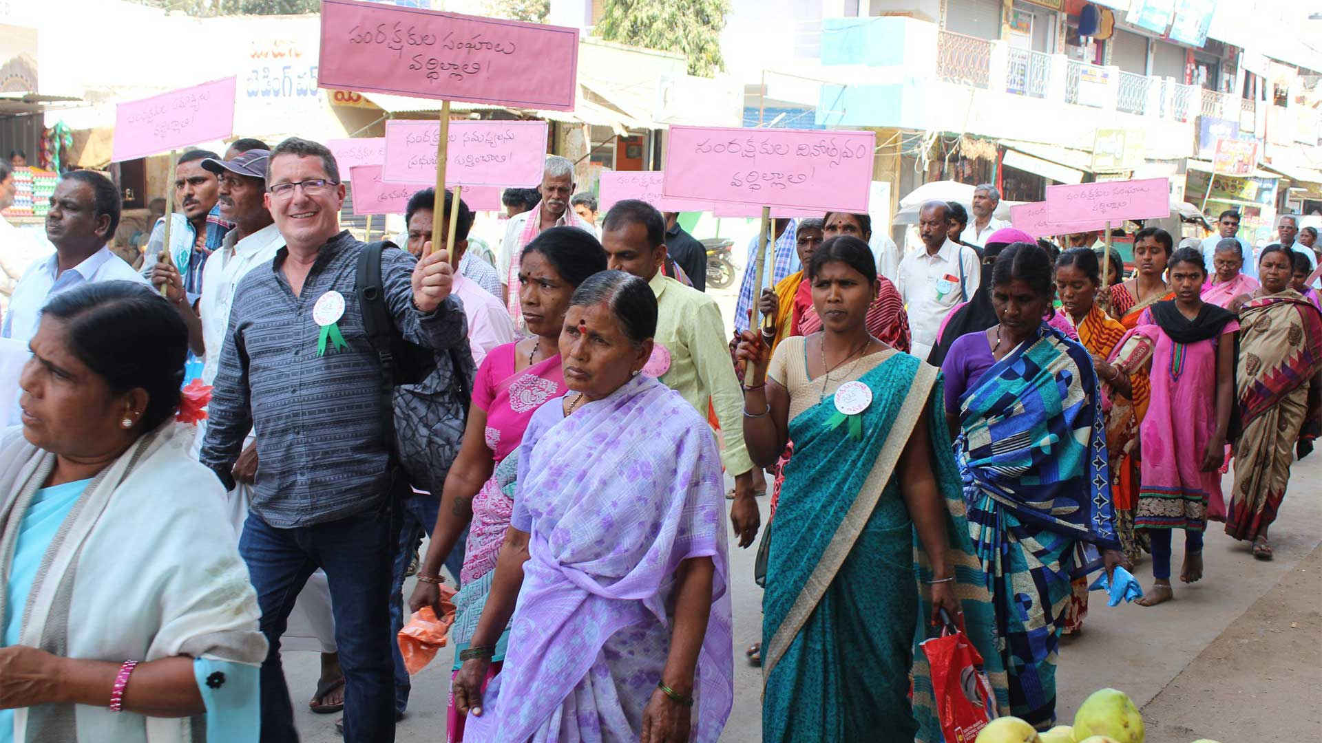 Carers Day parade in India with representative from Commonwealth Foundation