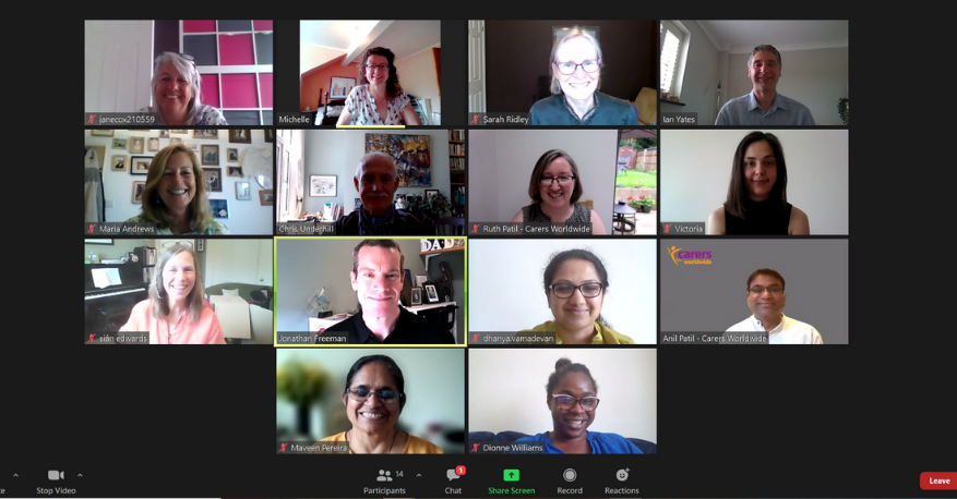 Image of our trustees and staff on a zoom call