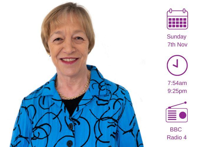 Headshot of Jackie Ashley. Calendar icon: Sunday 7th Nov; Clock icon: 7:54am 9:25pm; Radio icon BBC Radio 4