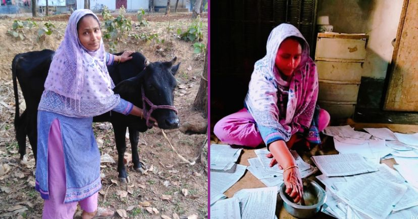 Image of woman outside looking after a cow. Image of woman sitting inside making paper bags